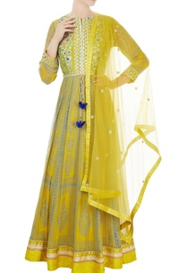 yellow-raw-silk-block-printed-georgette-anarkali-set