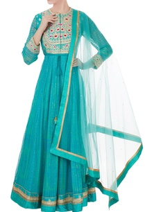 blue-raw-silk-block-printed-georgette-anarkali-set