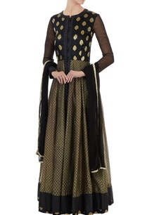 black-brocade-silk-block-printed-anarkali-set