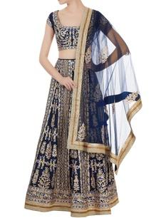 navy-blue-raw-silk-gota-thread-embroidered-lehenga