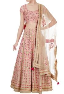 beige-pink-gota-embroidered-raw-silk-lehenga-set