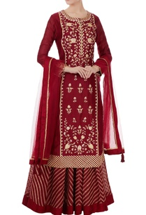 maroon-gota-embroidered-kurta-lehenga-set