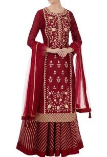 maroon-gota-embroidered-kurta-lehenga-set