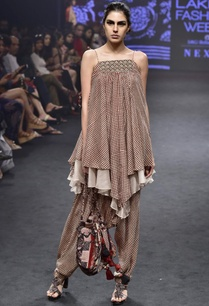 pink-black-silk-printed-asymmetric-tunic-with-draped-pants