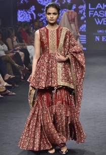 red-chanderi-silk-printed-peplum-tunic-sharara-with-dupatta