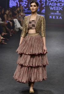 pink-gold-chanderi-silk-printed-jacket-tiered-skirt-with-bustier