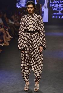 black-beige-modal-silk-printed-shirt-with-dhoti-pants-belt