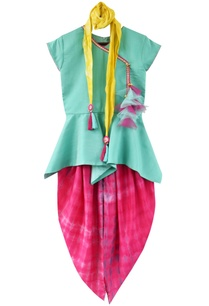 aqua-blue-peplum-blouse-with-pink-tie-dye-dhoti-and-dupatta