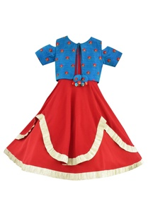 red-anarkali-dress-with-blue-embroidered-jacket