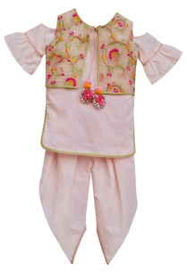 baby-pink-kurti-with-attached-jacket-churidar