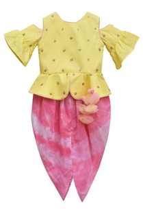 yellow-embroidered-peplum-choli-with-pink-tie-dye-dhoti