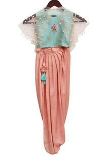 aqua-blue-satin-embroidered-blouse-draped-dhoti-with-net-cape