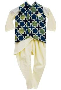 lemon-yellow-kurta-and-churidar-with-ajrag-print-nehru-jacket