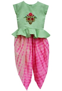 mint-green-peplum-choli-with-pink-tie-dye-dhoti