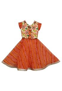 orange-bandhej-anarkali-dress-with-attached-jacket