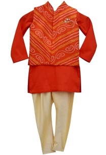 orange-bandhej-nehru-jacket-with-kurta-churidar