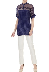 indigo-handwoven-cotton-hand-embroidered-yoke-chequered-shirt