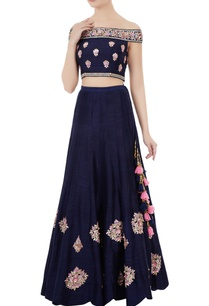navy-blue-raw-silk-gota-patti-hand-embroidered-off-shoulder-blouse-with-lehenga