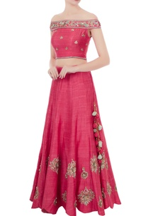pink-raw-silk-gota-patti-hand-embroidered-off-shoulder-blouse-with-lehenga