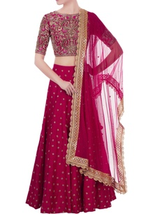 dark-pink-raw-silk-zardozi-hand-embroidered-bouse-with-lehenga-dupatta