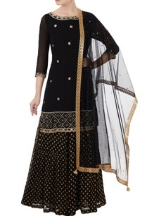 black-georgette-hand-embroidered-kurta-with-benarasi-georgette-sharara-pants-dupatta