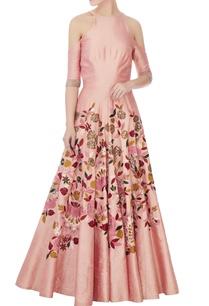 peach-embroidered-raw-silk-kurta-set