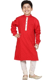 red-ivory-cotton-cutwork-kurta-set