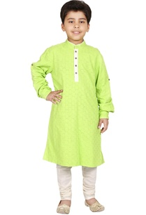 green-ivory-cotton-cutwork-kurta-set