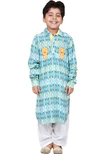turquoise-cotton-batik-printed-kurta-set