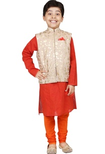 orange-gold-foil-print-kurta-set-with-nehru-jacket