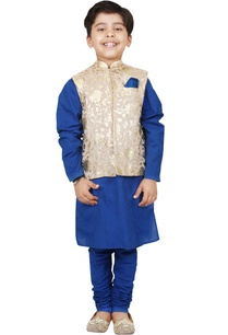 blue-beige-foil-print-kurta-set-with-nehru-jacket