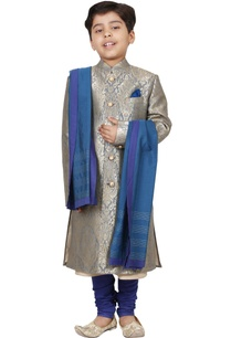 grey-blue-jacquard-sherwani-set