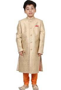 beige-orange-jacquard-sherwani-set