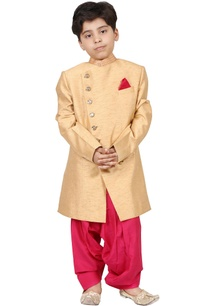 gold-pink-raw-silk-solid-sherwani-set
