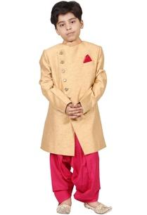 gold-pink-raw-silk-solid-sherwani-set