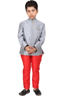 grey-red-dupion-viscose-solid-bandhgala-with-jodhpuri