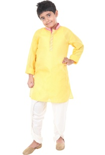 yellow-ivory-silk-solid-dhoti-with-kurta