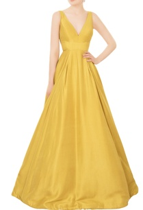 chartreuse-yellow-flared-ball-gown