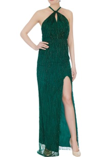emerald-green-halter-gown-with-high-slit
