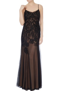 black-beige-hand-beaded-gown
