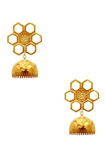 gold-plated-floral-jhumka-earrings