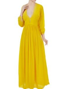 yellow-crepe-silk-pleated-v-neck-gown