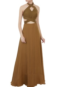 olive-green-cutout-halter-gown