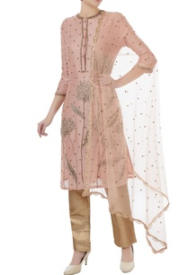 powder-pink-brown-chanderi-tafetta-net-hand-crafted-nakshi-white-pearl-mirror-work-kurta-with-pants-dupatta