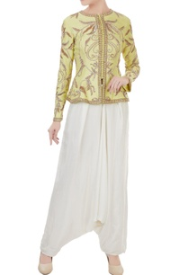 yellow-white-chanderi-crepe-hand-crafted-nakshi-white-pearl-bead-work-jacket-with-dhoti-pants
