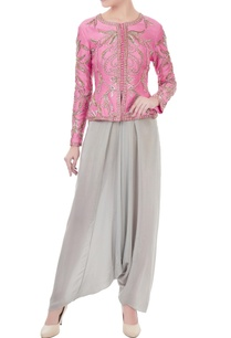 pink-grey-chanderi-crepe-hand-crafted-nakshi-white-pearl-bead-work-peplum-jacket-dhoti-pants