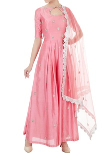 pink-chanderi-net-hand-crafted-nakshi-bead-work-mirror-work-jumpsuit-with-dupatta