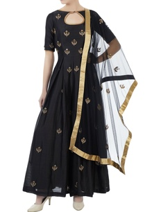 black-chanderi-net-hand-crafted-nakshi-bead-work-mirror-work-jumpsuit-with-dupatta