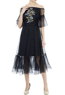 black-tafetta-organza-hand-crafted-colorful-sequin-bead-work-off-shoulder-dress