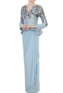 ice-blue-raw-silk-crepe-hand-crafted-colorful-sequin-bead-work-peplum-jacket-with-draped-skirt